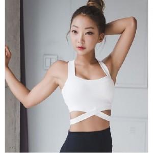 XEXYMIX Sports Top ivory 交叉露腰運動上衣 白色
